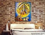 Tamatina Peinture sur toile–Jai Sri Krishna–Krishna Avatar–Mahabharat Peinture–religieux sur toile, Tissu, multicolore, Taille L...