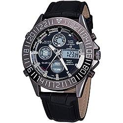 Men Quartz Wristwatch - ASJ Men Watch Stainless Steel Leather Digital Date Sport Quartz Wristwatch, Black band & Black dial