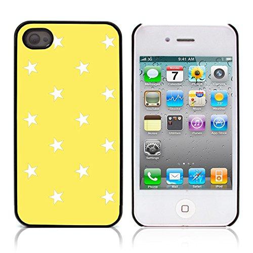 Graphic4You Sterne Muster Design Harte Hülle Case Tasche Schutzhülle für Apple iPhone 4 und 4S (Schwarz) Gelb