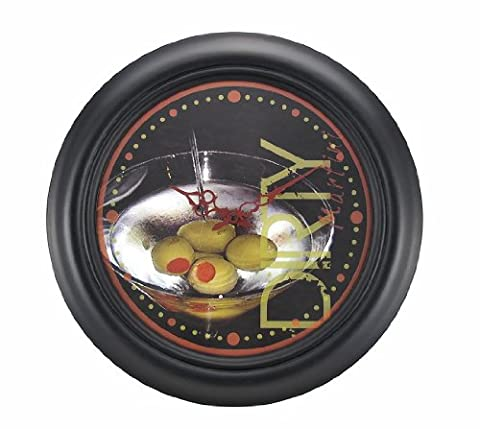 `Dirty Martini Time` Round Wooden Wall Clock 19 1/2 Inch