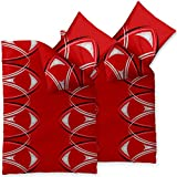 CelinaTex 4-tlg. Bettwäsche 2X 135x200 Mikrofaser, Harmony 6000171 Calla Rot Weiß