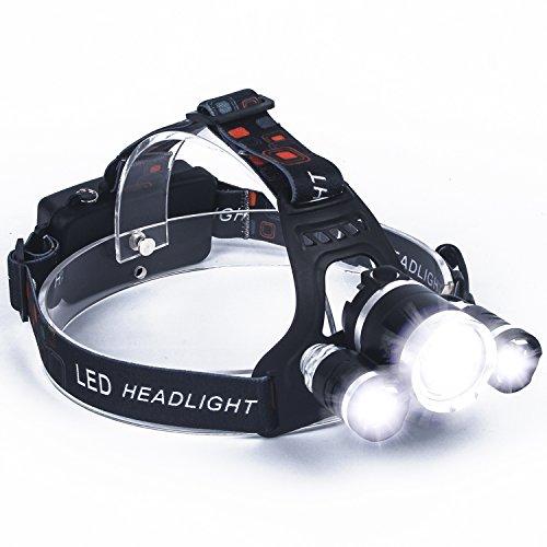 S SUNINESS LED Scheinwerfer Super Bright 8000 Lumen aufladbare Wasserdicht Scheinwerfer Taschenlampe mit 3 Cree LEDs und 4 Modi für Outdoor Wandern Camping Jagd Angeln Laufen