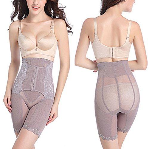 Lover-Beauty Shapewear Damen Body Miederhose Bauch Weg Bodysuit mit Haken Taillenformer Figurformender Grau