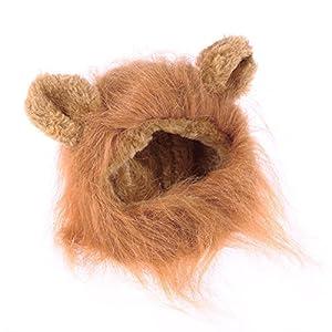 UEETEK Crinière de Lion pour Chat Perruque Costume Déguisement Lion pour Chat Chaton Chiot Adjustable Brun Clair