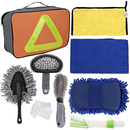 Faburo 9pcs Set Limpieza Coche Herramientas,Kit de Lavado de Autos para Cuidado Coche (esponja de chenilla/cepillo de ruedas/Limpiador de parabrisas de automóviles/Paño de limpieza de automóviles)