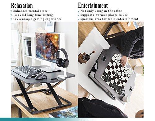 PUTORSEN Höhenverstellbar Sitz-Steh-Schreibtisch Computertisch - Schreibtischaufsatz Steharbeitsplatz Standtisch - Tabletop Stehpult Konverter für Ergonomic Comfort (32'' - Schwarz) - 4