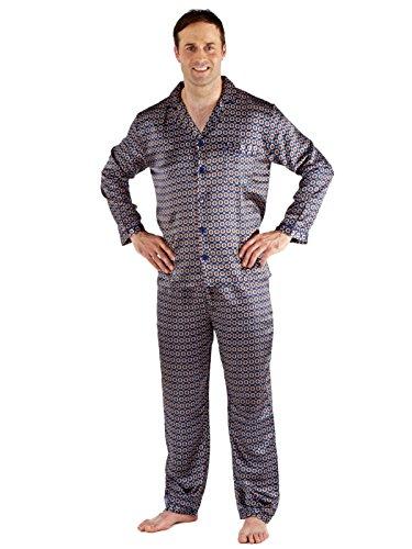 Herren Satin Bademantel Bademantel Kimono, Satin Pyjama Set Nachthemd Blau - Navy
