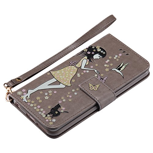 Custodia iPhone 6 Plus, iPhone 6S Plus Flip Case Leather, SainCat Custodia in Pelle Cover per iPhone 6/6S Plus, Bling Glitter Anti-Scratch Book Style Protettiva Caso PU Leather Flip Portafoglio Custod Grigio