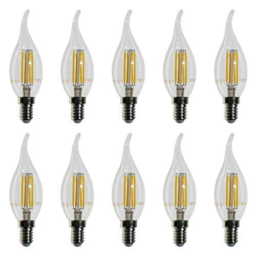 10-pezzi - 4302 - V-TAC - Lampadina Filamento LED Candela fiamma - Casquillo E14 - Potenza 4W (sostituisce 40 W) - Luce Bianca Calda (2700K) - 400 lm - Angolazione fascio luce 300°