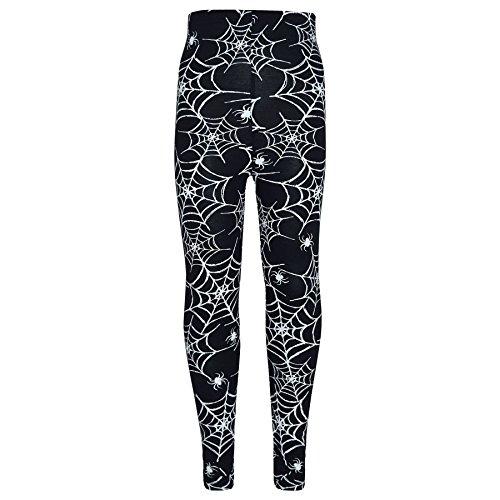 A2Z 4 Kinder Mädchen Halloween Legging Spider Web Schädel Aufdruck Leggings Fancy Kostüm Neu Alter 3 4 5 6 7 8 9 10 11 12 13 Jahre