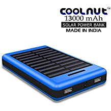 COOLNUT 13000mAh Solar Power Bank, Blue (Made In India)
