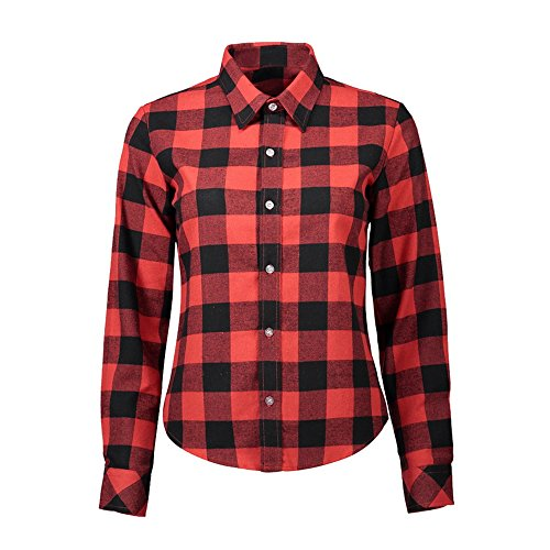 Vertvie Femme Chemisier à Carreaux Manches Longues Col Revers Top Shirt Blouse Casual Boutonnière Rouge