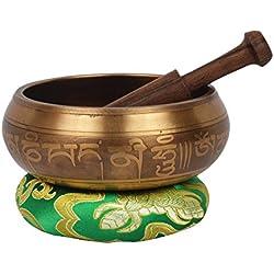 Tigre tibetano de la meditación que canta con el grabado especial y 5 Buddhas crearon dentro. Con estuche étnico. Para la relajación, la curación y la atención plena (5BUD9-1) (B32)