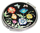 Madreperla Poppy design double Compact Magnifying Cosmetic makeup Purse beauty Pocket Mirror