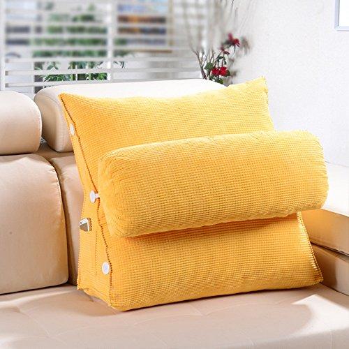 Sofa Kissen Kissen / Dreieck Kissen / Bett Kissen / Büro Taille Kissen Kissen / Bett Kissen Nackenkissen ( Farbe : Gelb , größe : 60*20*50cm )