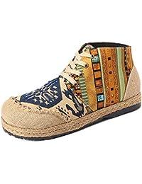 Mujeres Transpirable Lienzo De La Vendimia Botines Impresos Bohemio con Cordones Totem Zapatos Deportivos Casuales