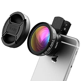 VicTsing® 2-in-1 abnehmbares 0,45x-Super-Weitwinkelobjektiv, inklusive 10x-Super-Makroobjektiv, klares professionelles, langlebiges Kameraobjektivkit für iPhone SE, 7, 6, 6S, 6PLUS, 6S Plus, 5,Samsung, Huawei und andere Smartphones