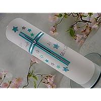 Taufkerze Kreuz mint silber mit Sternen handmade modern Taufkerzen Junge Mädchen 250/70 mm personalisiert