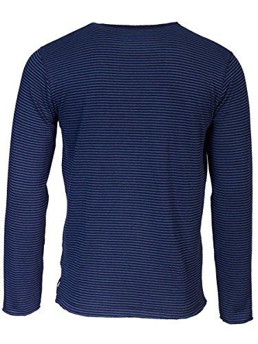TREVOR'S KENNETH Herren Sweatshirt mit Rundhalsausschnitt und Streifen aus 100% Bio-Baumwolle - soziale fair trade Kleidung, Mode vegan und nachhaltig Color midnight, Size L - 2