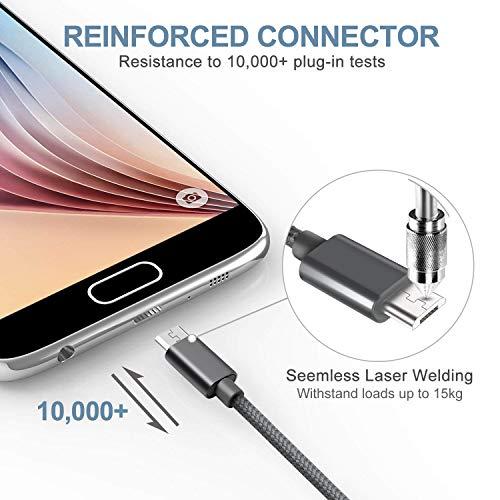 SUCESO Cable Micro USB [3Pack, 1M 2M 2M] Cargador Micro USB Carga Rápida Cable USB Trenzado de Nylon Compatible con Android, Samsung Galaxy S7 S6, Huawei, Kindle, LG, Sony, Nexus, Xiaomi, Motorola y más- Gris