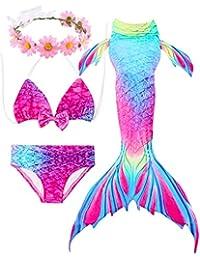 99be913fbd237 ONMet 2019 4 Pcs Girls Swimsuit Mermaid Tails for Swimming Costume Princess Bikini  Set Bathing Suit