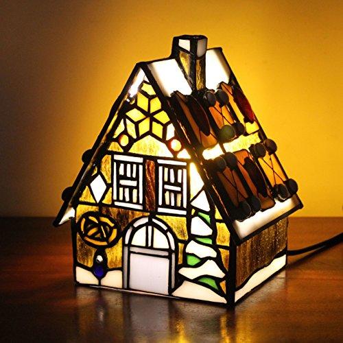 Art-gelbe kleine Haus-Landhaus-Tabellen-Lampe Kinderlampen-Nachtlicht (Deco-schreibtisch-lampe)