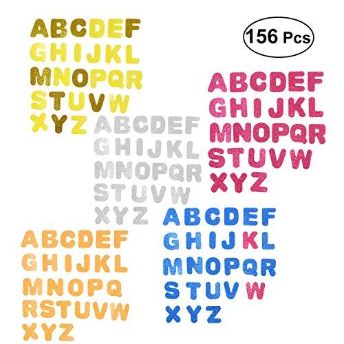 6 Buchstaben Glitzer Sticker Aufkleber Schaumstoff Türaufkleber Selbstklebend für Kinder Wand DIY (Farbe Sortiert) ()