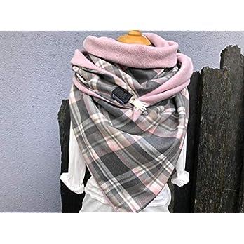 Tuecherfee/süßes Karo XXL Tuch mit Verschluss/kuscheliges Halstuch/rosa, hell- und dunkelgrauer Karostoff mit rosa Fleece zum kuscheligen Jumbo vereint