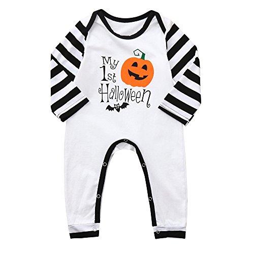 Jimmackey neonato manica lunga striscia pagliaccetto zucca lettera stampa tutina halloween body, bambino da 1 a 4 anni