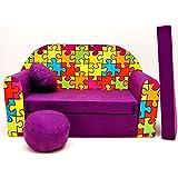 Sofá mueble para niño infantil 3en1 (violeta puzzle G34)