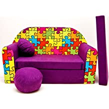Welox Kindersofa Bettfunktion 3in1 - Kindersessel, Ausziehbett, violett Puzzle
