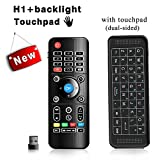 Airmaus Fernbedienung, penkou H1 backlit Mini Tastatur kabellos Somatosensorisches Spiel Keyboard 2,4 G wiederaufladbare Air Mouse Combo mit full Touchpad LED Backlits für Smart TV, HTPC, IPTV, Android TV Box