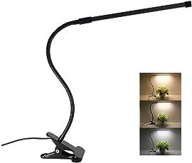 Clip On Desk Lamp Dimmable Eye Care Reading Light Clamp On 3 Color Changing 10-Level Brightness Flex Mental Gooseneck 8W Clip On Light for Bed LED Table Light (Black)