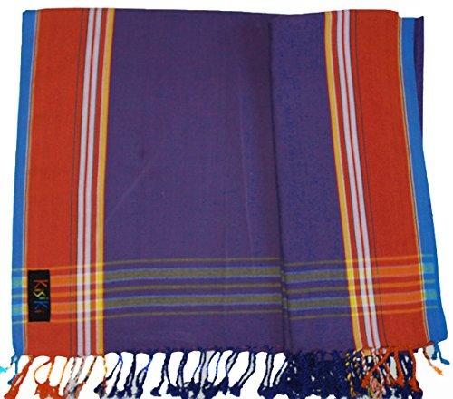 KISIKI-100% Baumwolle Kikoy Pareo Tuch/Sarong–Zubehör der Reisen und Urlaub Gr. Einheitsgröße, Purple with a red border (Bademoden, Sportbekleidung Stoff)