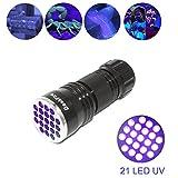 L¨¢mparas LED DaskFire UV 21 LED Utlra Violet Blacklight Torch, 395nm Pet Orina y Detector de manchas, encuentra manchas en la ropa, alfombras o alfombras (3 pilas AAA incluidas)