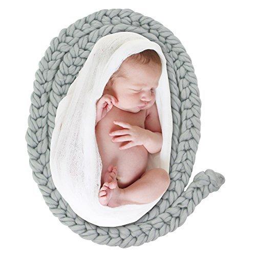 ICOSY Neugeborenen Twist Seil Foto Decke Hintergrund Baby Geflochtene Gestrickte Teppich Decke Fotografie Requisiten Korb Füllstoff