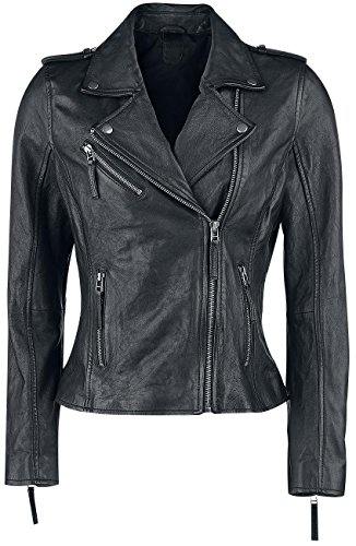 Black Premium by EMP Skull Leather Jacket Giacca donna nero XL