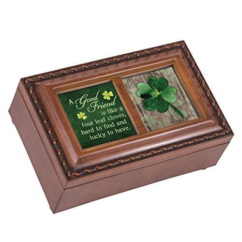 Cottage Garden Good Friend Spieluhr, vierblättriges Kleeblatt, Holzmaserung, mit Seil (Musik-schmuck-box Für Mama)