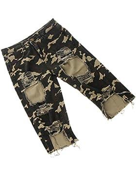 Magideal Pantalones Pitillo Desgastados Cortos Cintura Alta para Mujer Mujeres Adelgazante Verano Apariencia Atractiva