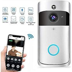 Kobwa WiFi Smart Sonnette, Carillon vidéo sans Fil HD 720p WiFi Camera vidéo en Temps réel Audio Bidirectionnel Vision Nocturne Détection de Mouvement Voleur Rappel pour iOS, Android, Windows
