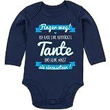 Shirtracer Sprüche Baby - Ich Habe eine verrückte Tante Blau - 6-12 Monate - Navy Blau - BZ30 - Baby Body Langarm