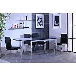 MAX Table extensible 140/220 chrome + verre noir