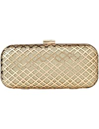Paradox Womens Metal Case Wedding Party Evening Hand Box Clutch Bag (Gold)