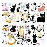 Wandtattoo Kinderzimmer Wandsticker Set Bunte Katzen zum Kleben Wandtattoo Wand