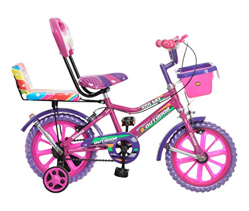 Splash From Outdoorâ® Bikes Outdoorâ® Bikes Splash 14 Inches Bicycle For 3 To 5 Years Kids With Double Seat (Assembly Required) (Pink Purple)