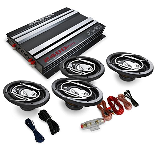 auna  4.0 Car HiFi Platin Line 420 Subwoofer Amplifier Set In-Car Stereo System Adjustable Low-Pass Filter High-Performance (2400W, 1 x Amplifier, 4 x Speakers, 1 x Cables) Black/Silver
