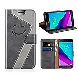 MOBESV Smiley Samsung Galaxy XCover 4 Hülle Leder, Samsung XCover 4 Tasche Lederhülle/Wallet Case/Ledertasche Handyhülle/Schutzhülle für Samsung Galaxy XCover 4, Schwarz/Grau
