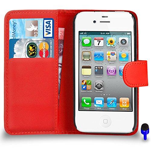 Apple iPhone 4 / 4S Cuir Premium Rose Vif Wallet flip Housse Pouch PAR SHUKAN®, (Rose Vif) Rouge