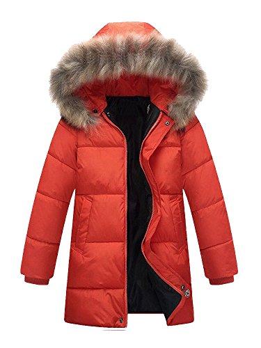 Jungen Kinder Winterjacke Wintermantel mit Fellkapuze Verdickung Lang Jacket Parka Outdoor