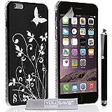 Yousave Accessories Floral Butterfly Hard Cover Fall mit Stylus Eingabestift für iPhone 6Plus–schwarz/silber